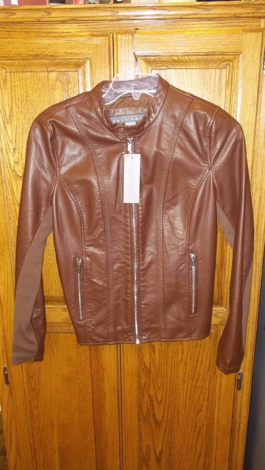 new women s cognac faux leather moto