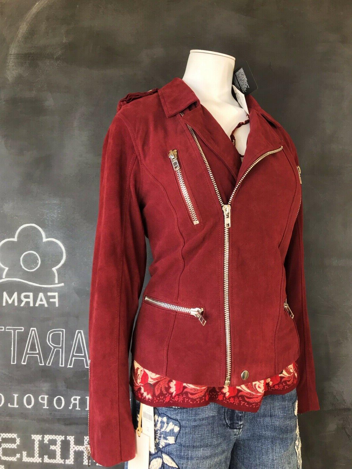nwt 200 anthropologie leather lamb suede moto