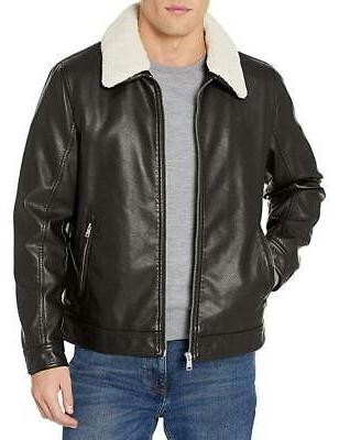 nwt 225 faux leather jacket with removable