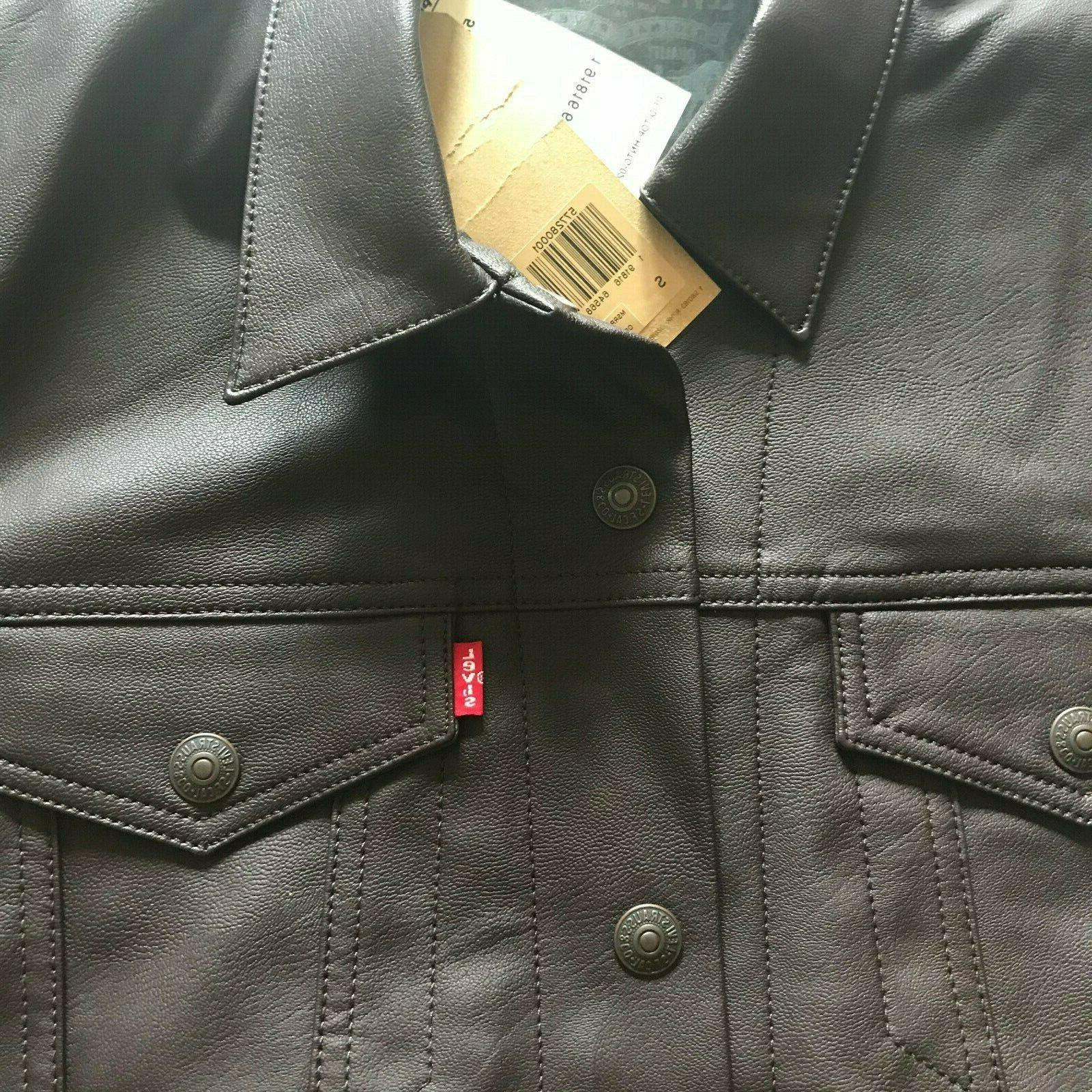 NWT Men's Brown Leather Trucker Jacket Outerwear Size S
