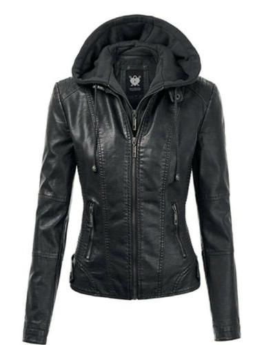 nwt ll womens hooded faux leather jacket