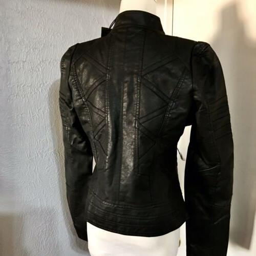 NWT-Made MBJ BLACK FAUX LEATHER CHIC MOTO SZ.