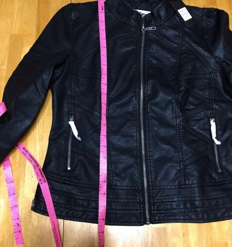 NWT-Made By Johnny MBJ BLACK FAUX LEATHER BIKER CHIC ZIP SZ.