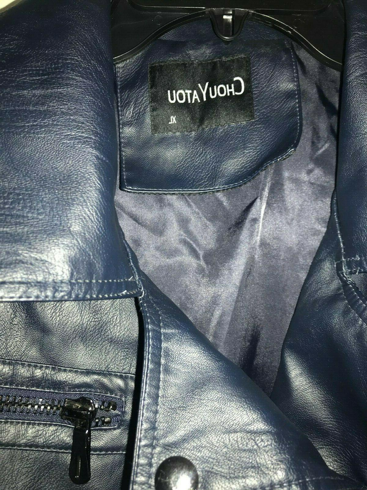 NWT chouyatou faux leather Navy Blue -