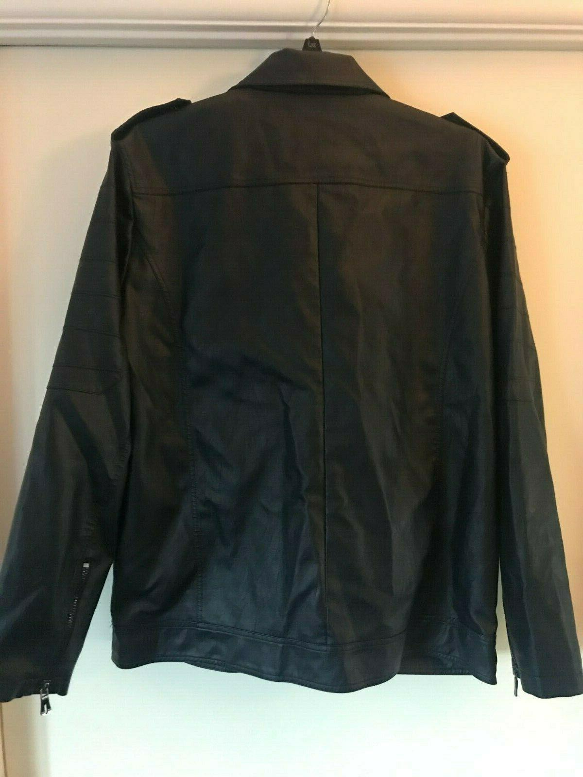 NWT chouyatou Men's leather jacket - Navy - XL
