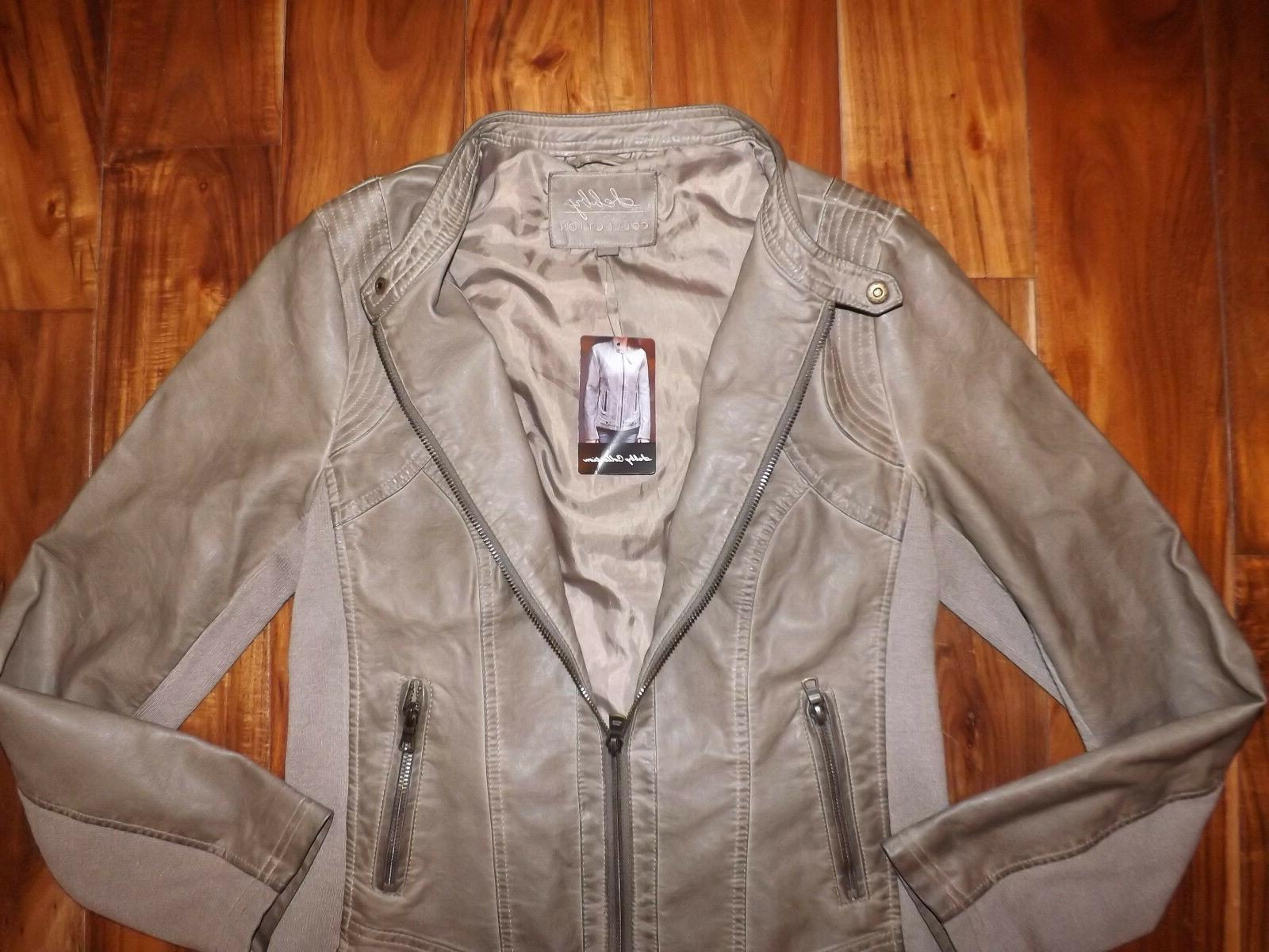 NWT Womens COLLECTION Taupe Faux Coat Size