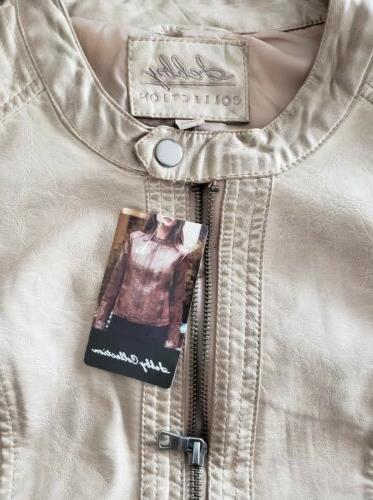 nwt womens collection taupe faux leather jacket