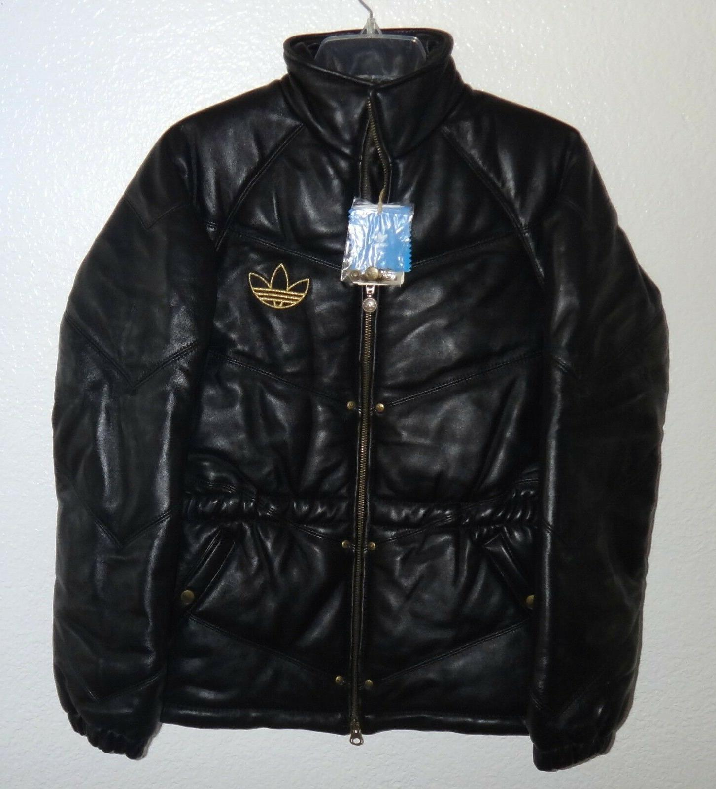 NWT WOMENS S ADIDAS ECSTACY BLACK LEATHER JACKET COAT RARE L