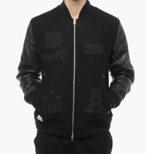 official images newest collection best cheap Adidas Originals Run DMC Bomber Jacket M64169 leather
