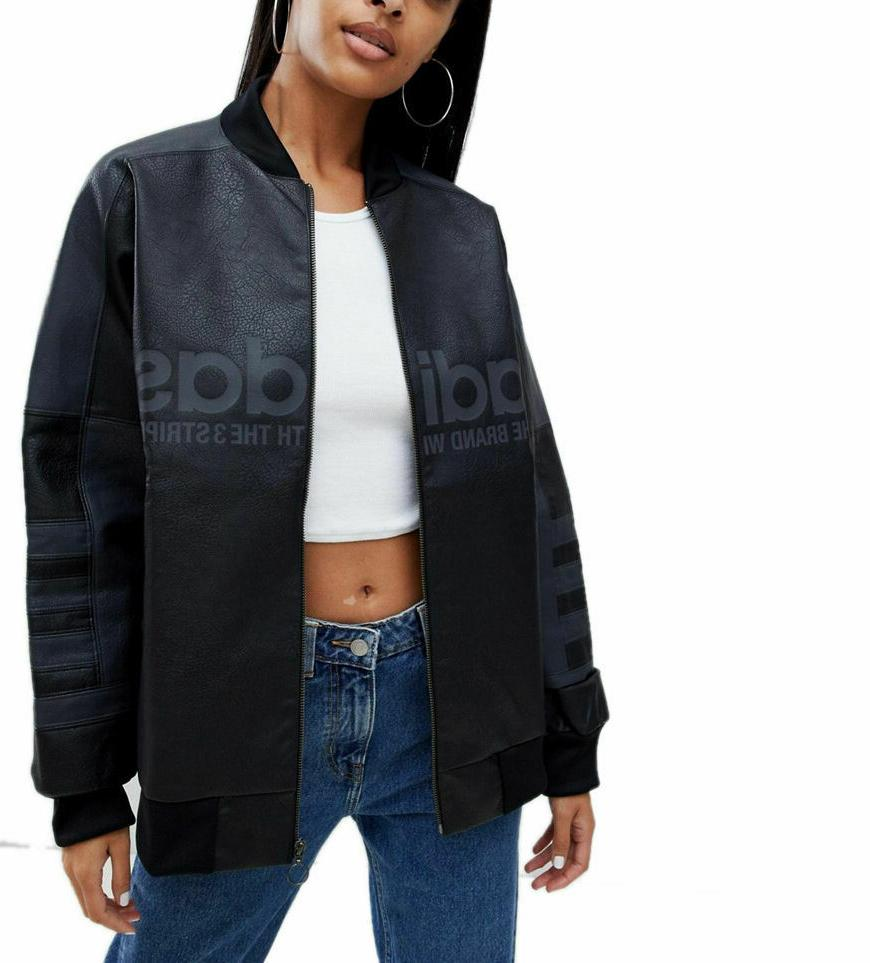 originals women faux leather oversized track bomber