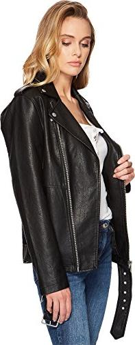 Levi's Women's Oversized Faux Leather Motorcycle Black, S