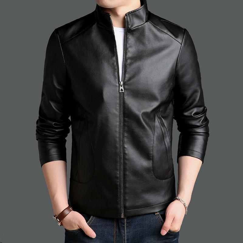 PU Synthetic leather Jacket Men's Outerwear