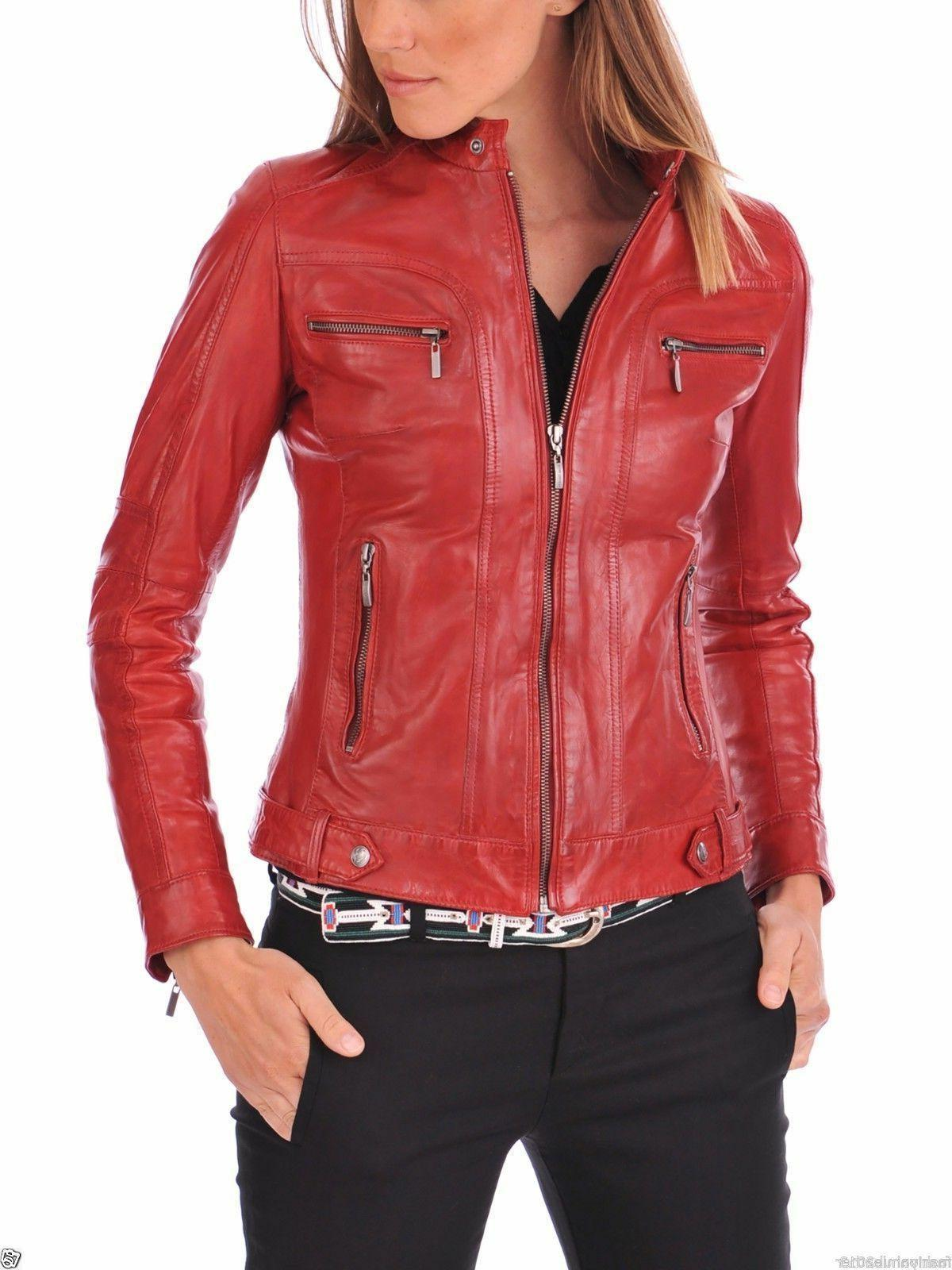 Red Women's Lambskin soft Real Leather Slim fit