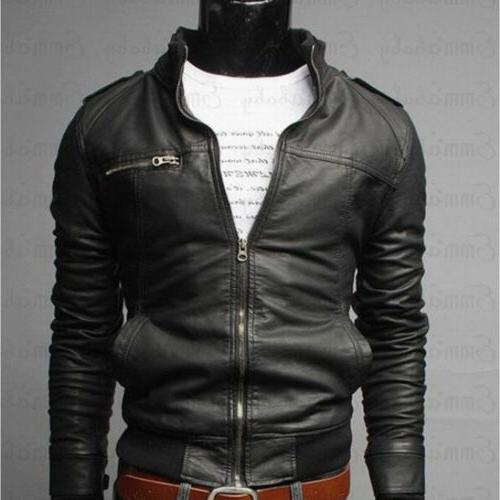 US Fashion Collar Slim Fit Leather Jacket