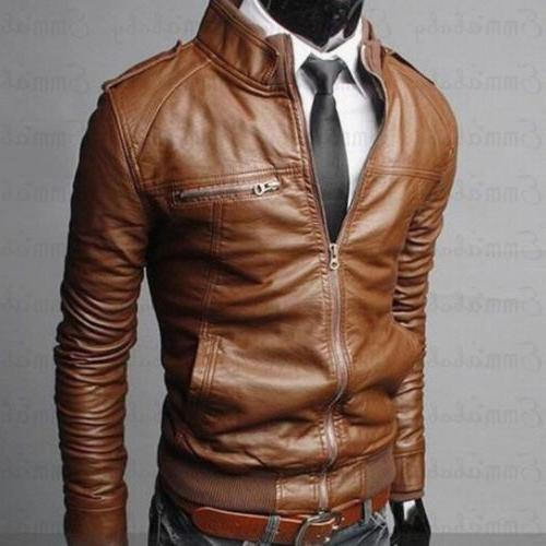 US Jackets Collar Fit Leather Outwear
