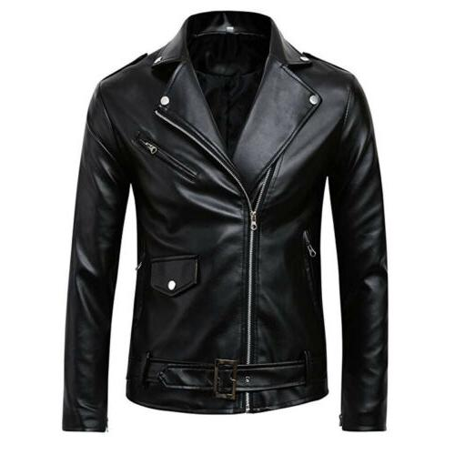 US Men's PU Leather Motorcycle Biker