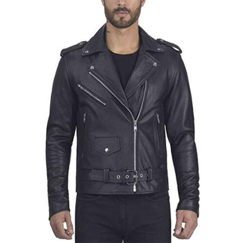 US Leather Coats Jackets Slim Motorcycle Biker