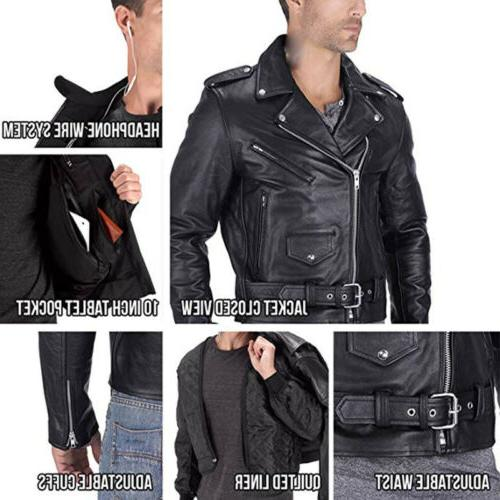 US Men's Faux Leather Jackets Motorcycle Biker