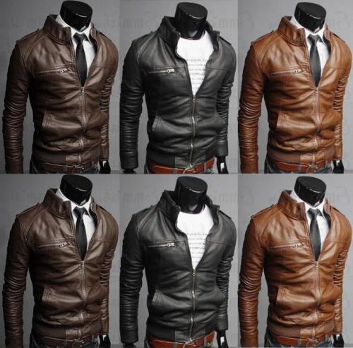 US New Men's Fashion Jackets Collar Slim Motorcycle Leather