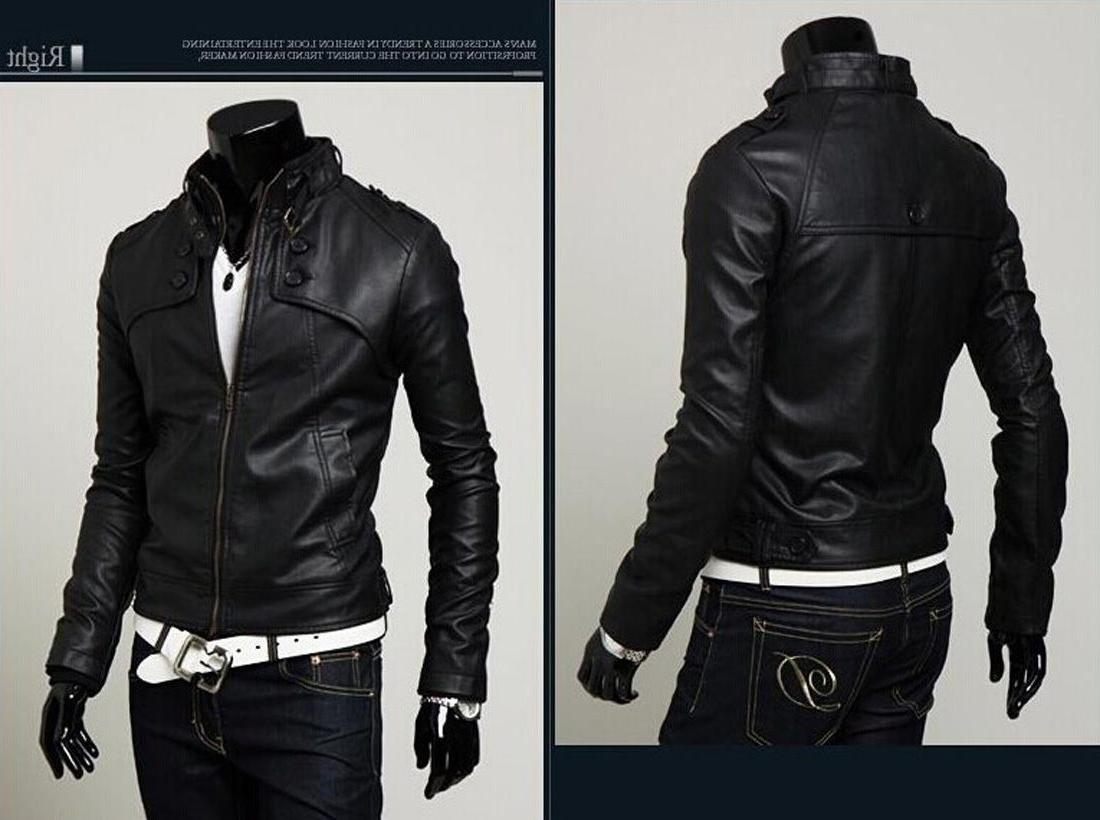 US Seller Faux-Leather Buckle Collar Coat