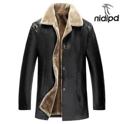 winter fur leather jacket mens plus size