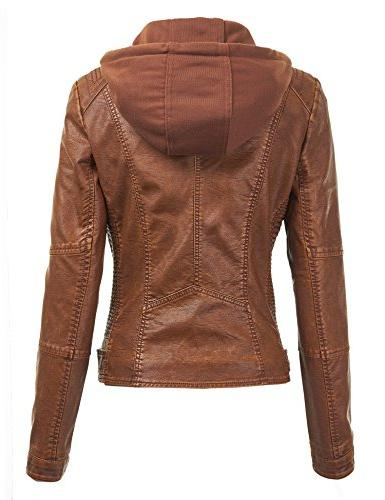WJC1044 Womens Faux Quilted With Hoodie Camel