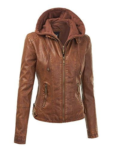 WJC1044 Womens Quilted Motorcycle Jacket Hoodie