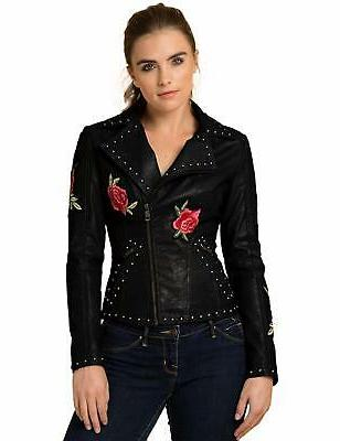 Lock Womens Embroidered Faux Leather