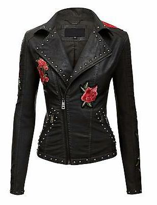 wjc1496 womens floral embroidered faux leather moto