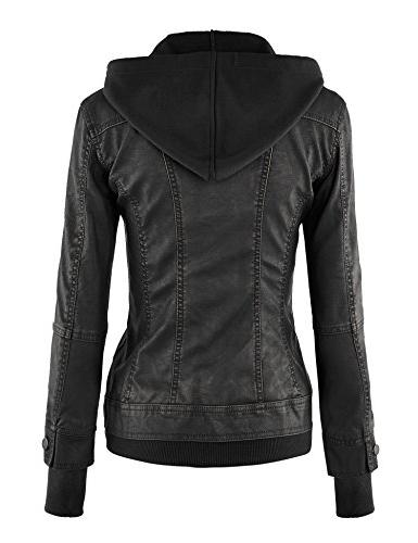 WJC664 Womens Jacket With Hoodie Black
