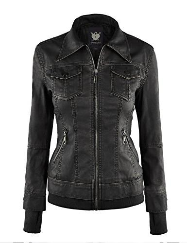 WJC664 Faux Jacket With Black