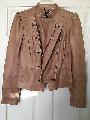 Oasis Women 100% Real Genuine Leather Jacket Size S Camel Mo