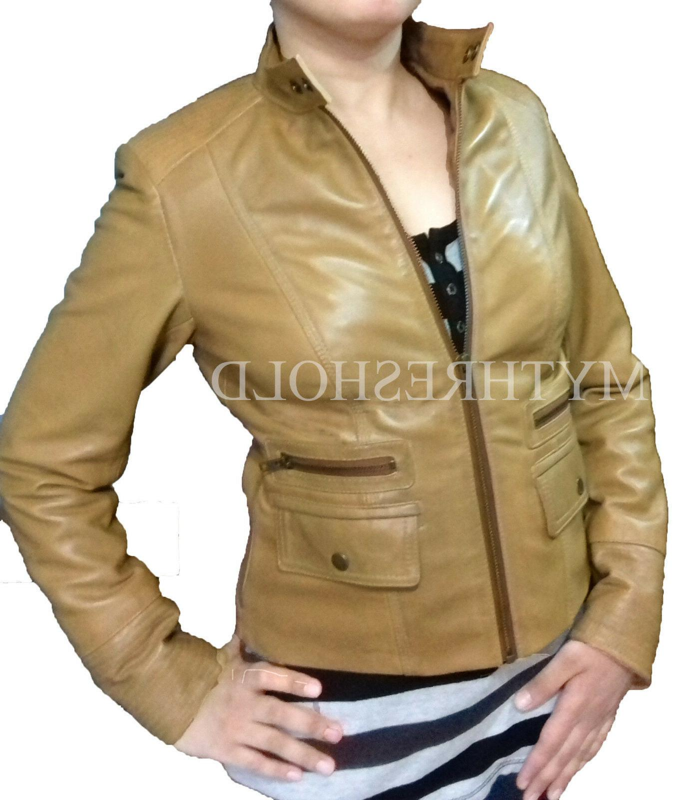 Women Camel Brown Motorcycle Biker Genuine Lambskin Real Lea