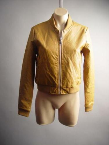 Women Camel Quilted Faux Leather Moto Biker Baseball Bomber