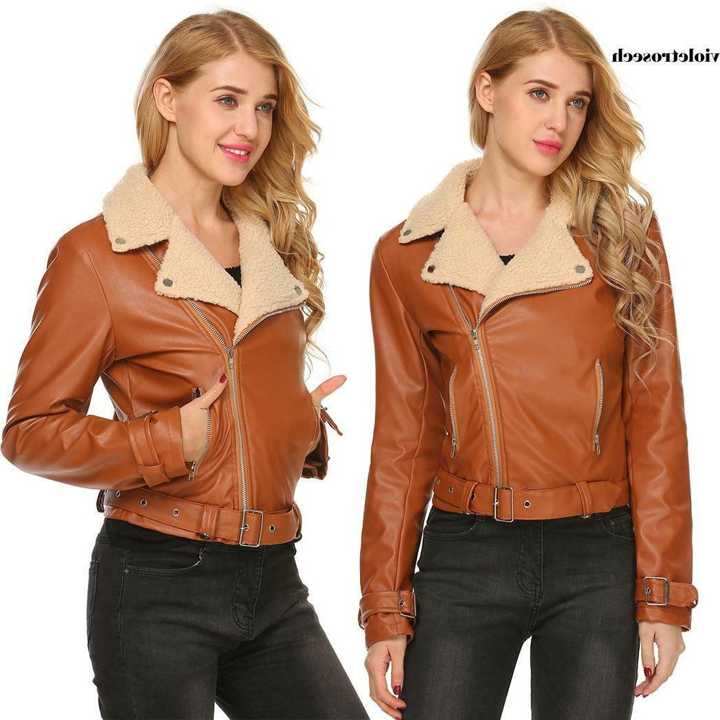 Women Faux Leather Motorcycle Coat Jackets VILR