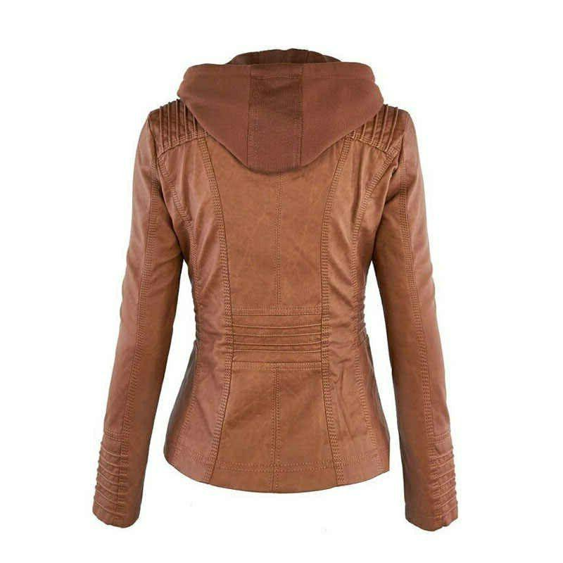 Women Leather Jacket Genuine Lambskin Removable Hooded Jacket