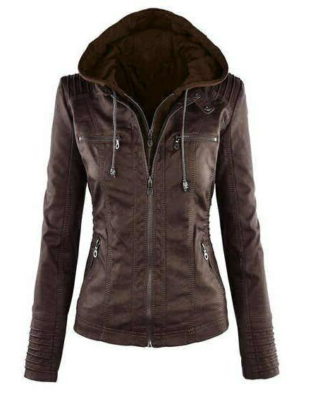 Women Leather Jacket Lambskin Biker Removable Hooded Jacket