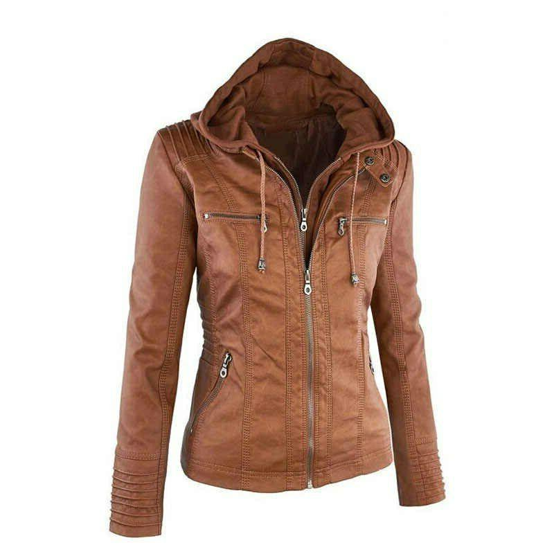 Women Jacket Lambskin Hooded Leather Jacket