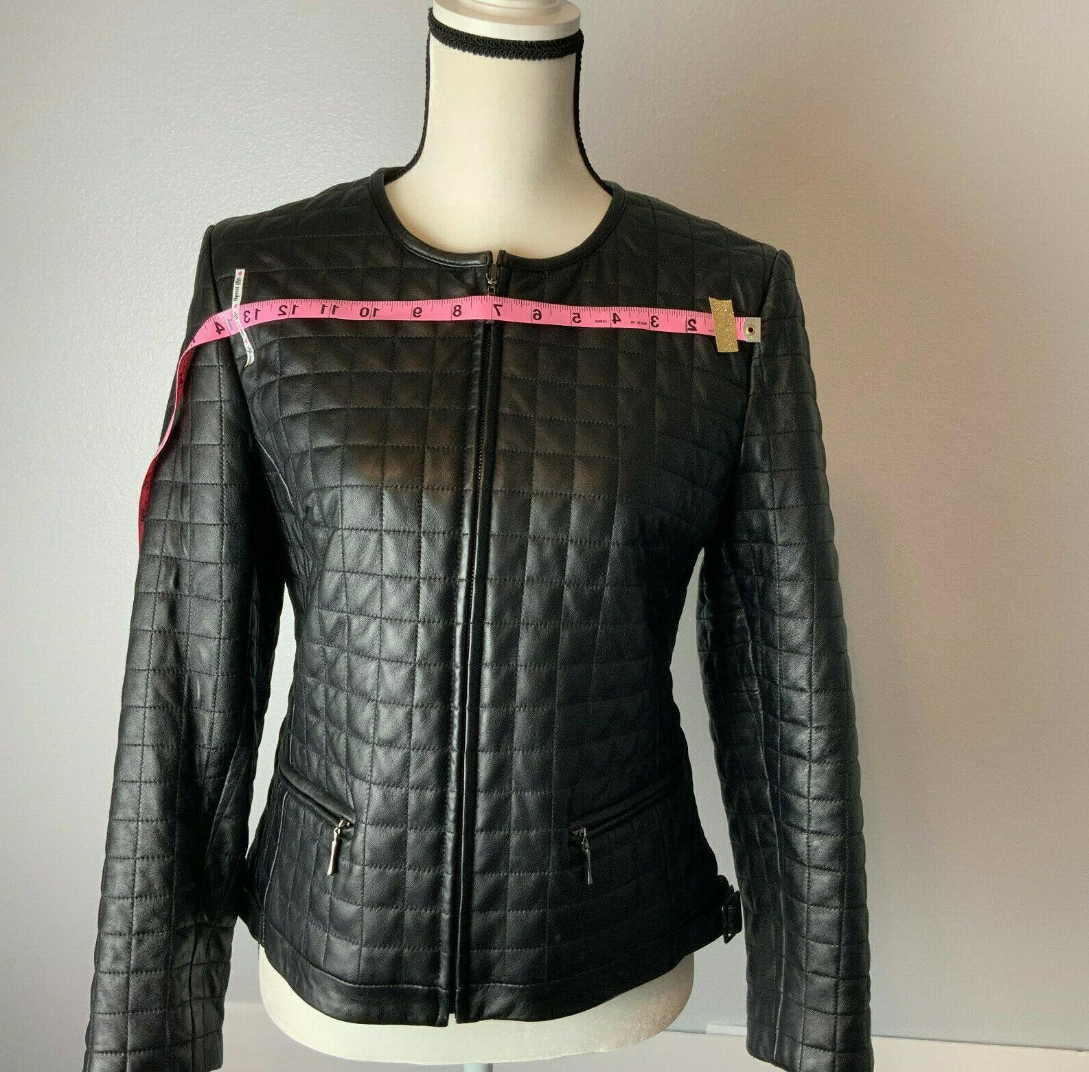 Women Leather Moto Jacket Quilted NWOT Petite Sophisticate
