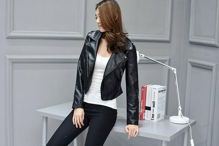 Women PU Leather Jacket Motorcycle Serpents Snake