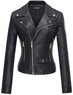 Tanming Women's Casual Slim Motorcycle PU Faux Leather Jacke