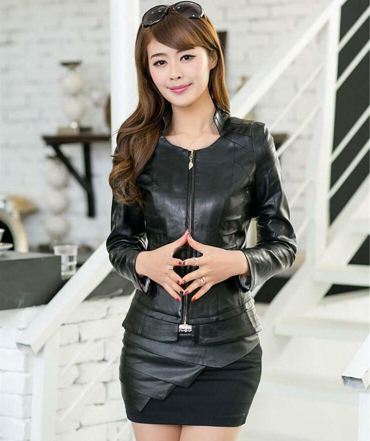 Women's Short Fit Collar Motorcycle Faux Leather