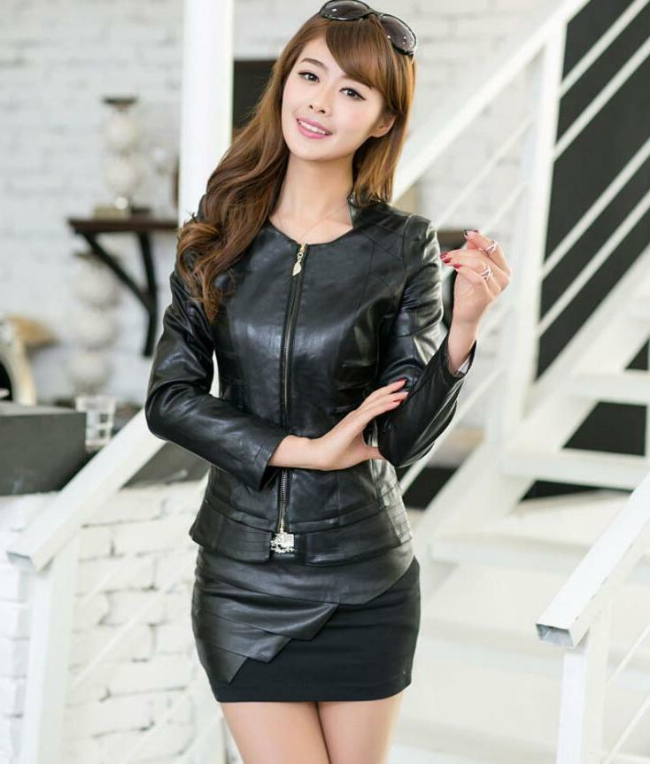 Women's Fit Collar Motorcycle Jackets Faux Leather Overcoat