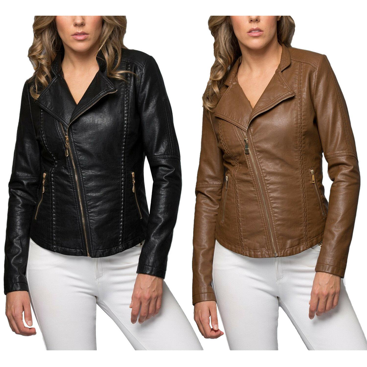 KOGMO Women's Double Breasted Faux Leather Biker Short Coat