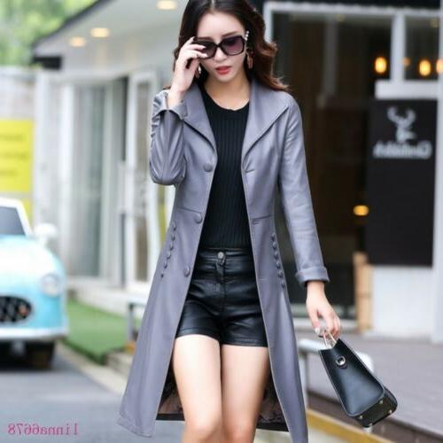 Women's Leather Long Trench Coats Lepal fit Tops