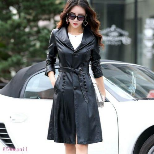 women s faux leather jackets long trench