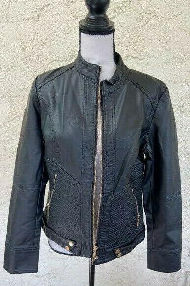 Lock And Love Faux Leather Quilted Jacket,