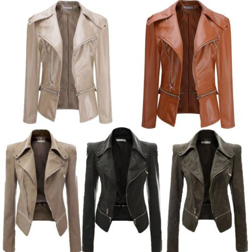 Women's Faux Leather Zip Up Biker Coat Casual Outwear