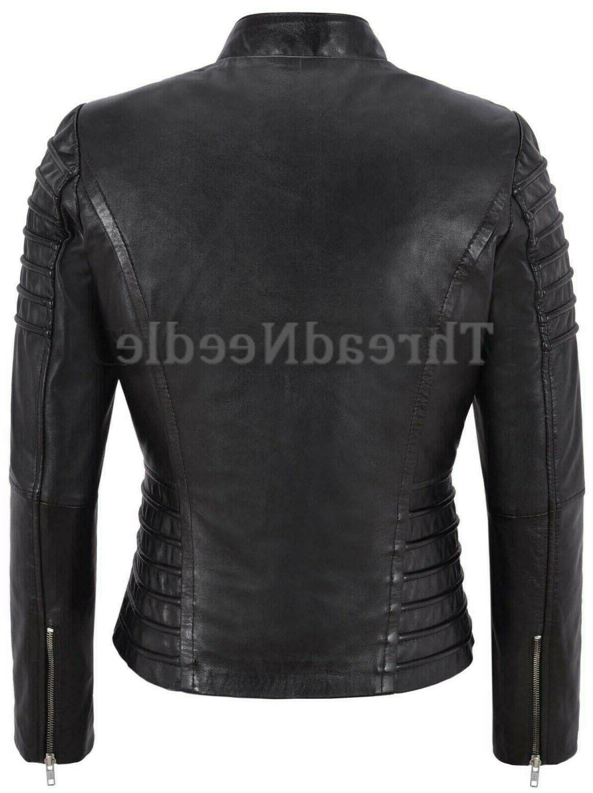 Women's Genuine Lambskin Jacket Motorcycle Slim fit Jacket