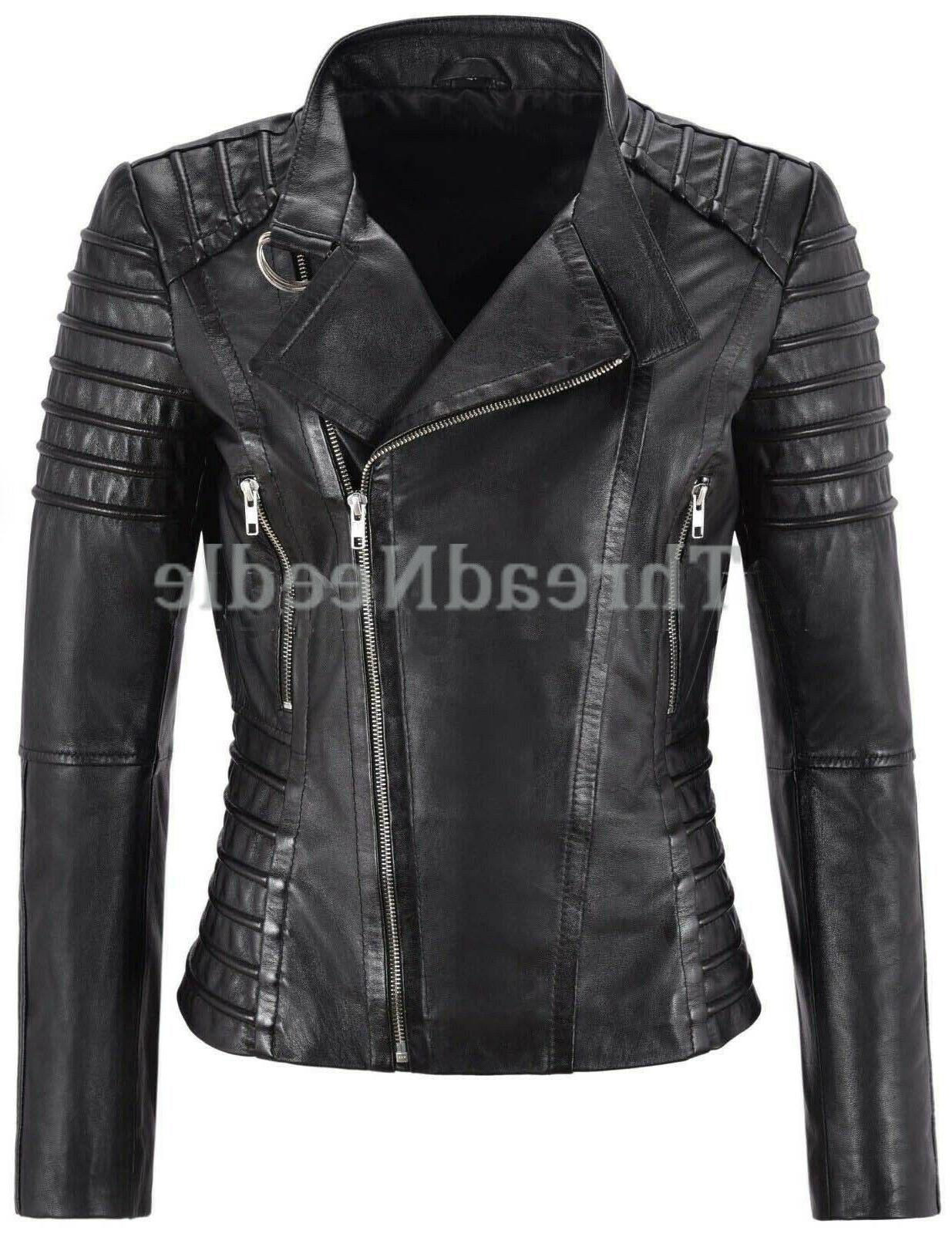 women s genuine lambskin leather jacket motorcycle